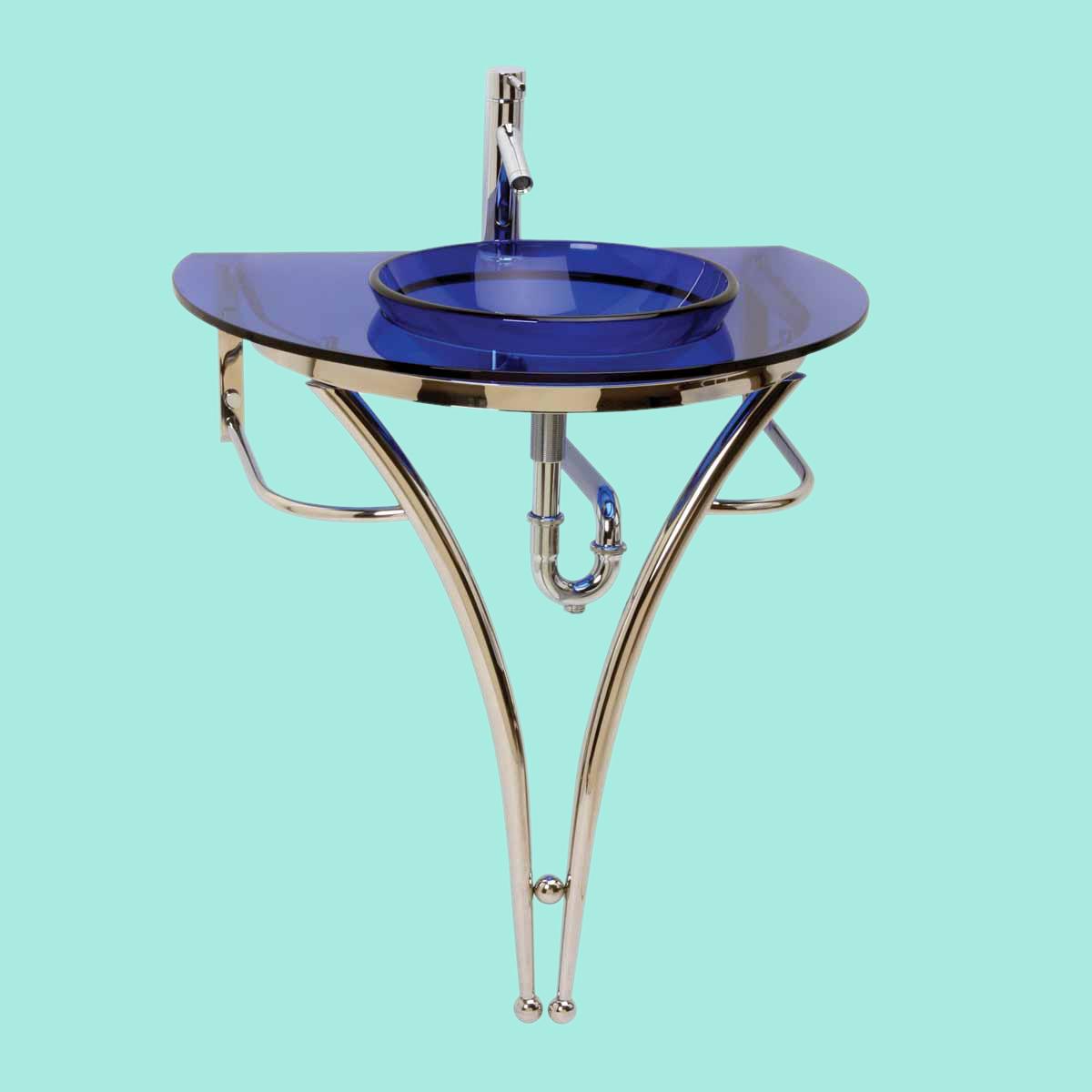 Pedestal Sink With Vessel Bowl : Glass Pedestal Sink Blue Recessed Vessel Combo Package