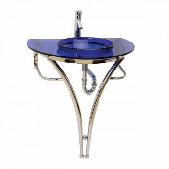 Blue Pedestal Sink : Glass Pedestal Sink Blue Recessed Vessel Combo Package