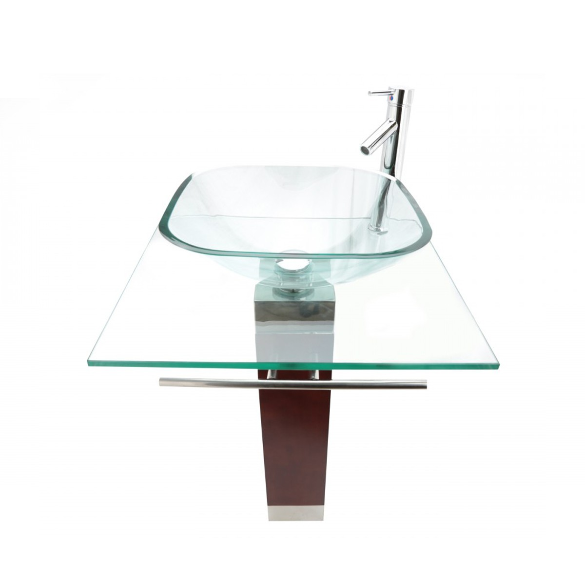 Sink Glass : Tempered Glass Pedestal Sink and Faucet Combo