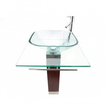 Tempered Glass Pedestal Sink and Faucet Combo