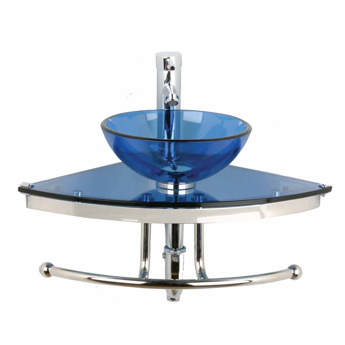Unique Tempered Blue Glass Wall Mount Corner Vessel Sink