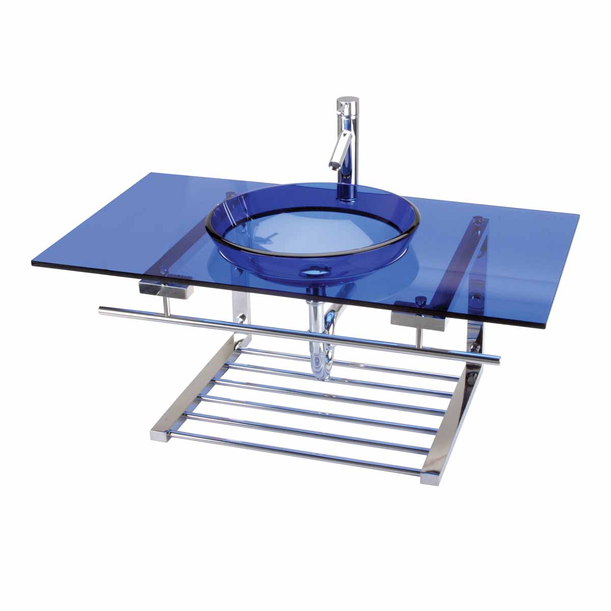 Wall Mount Glass Sink Bathroom Recessed Console Combo Blue