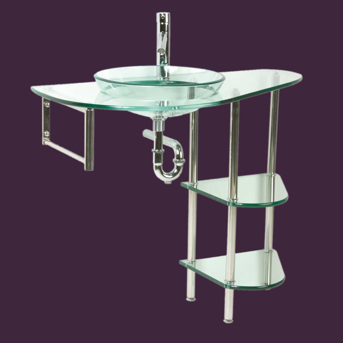 Glass Wall Mount Sink : Bathroom Clear Glass Console Sink Stainless Shelf Wall Mount