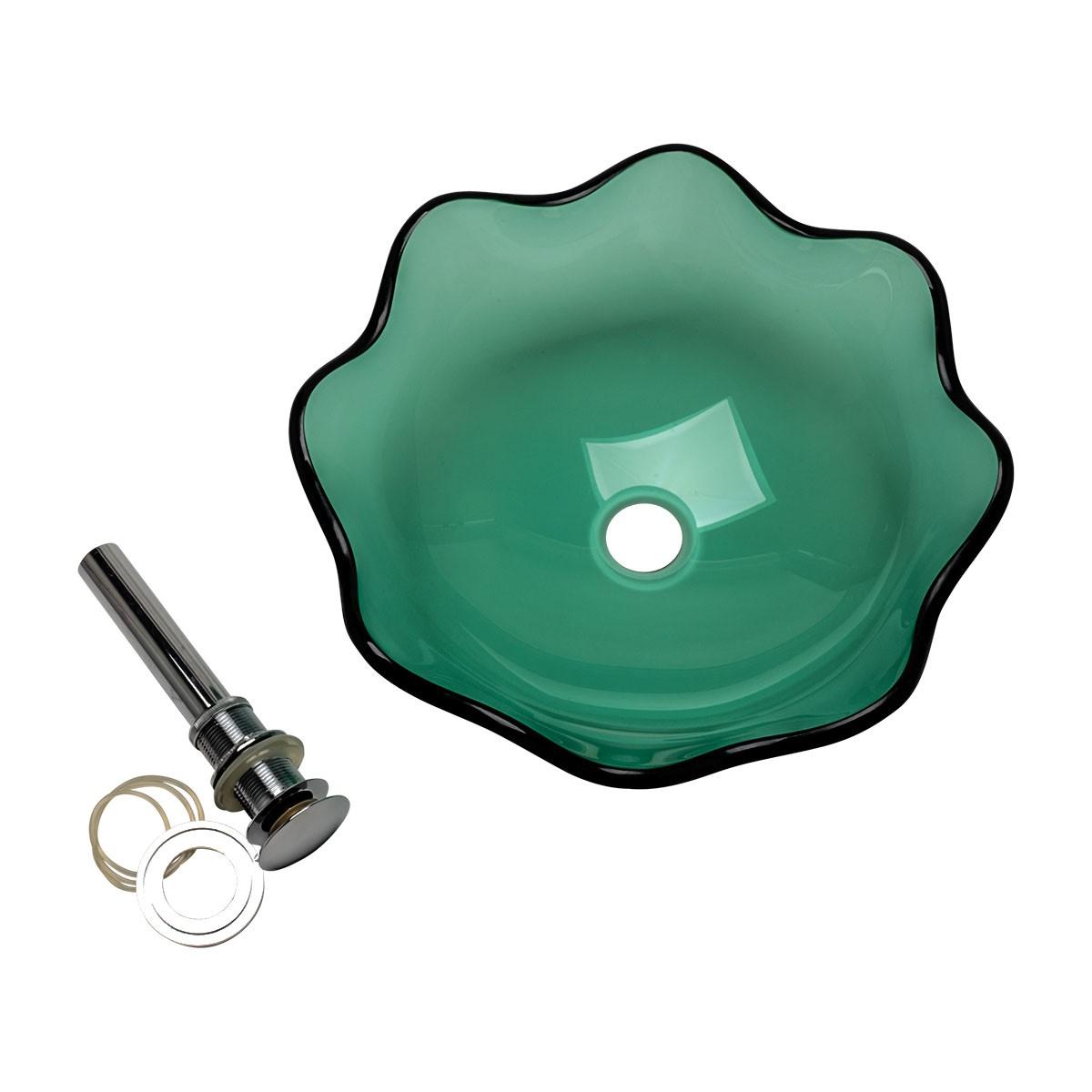 Glass Vessel Bathroom Sink Green Sweet Pea Flower Shape