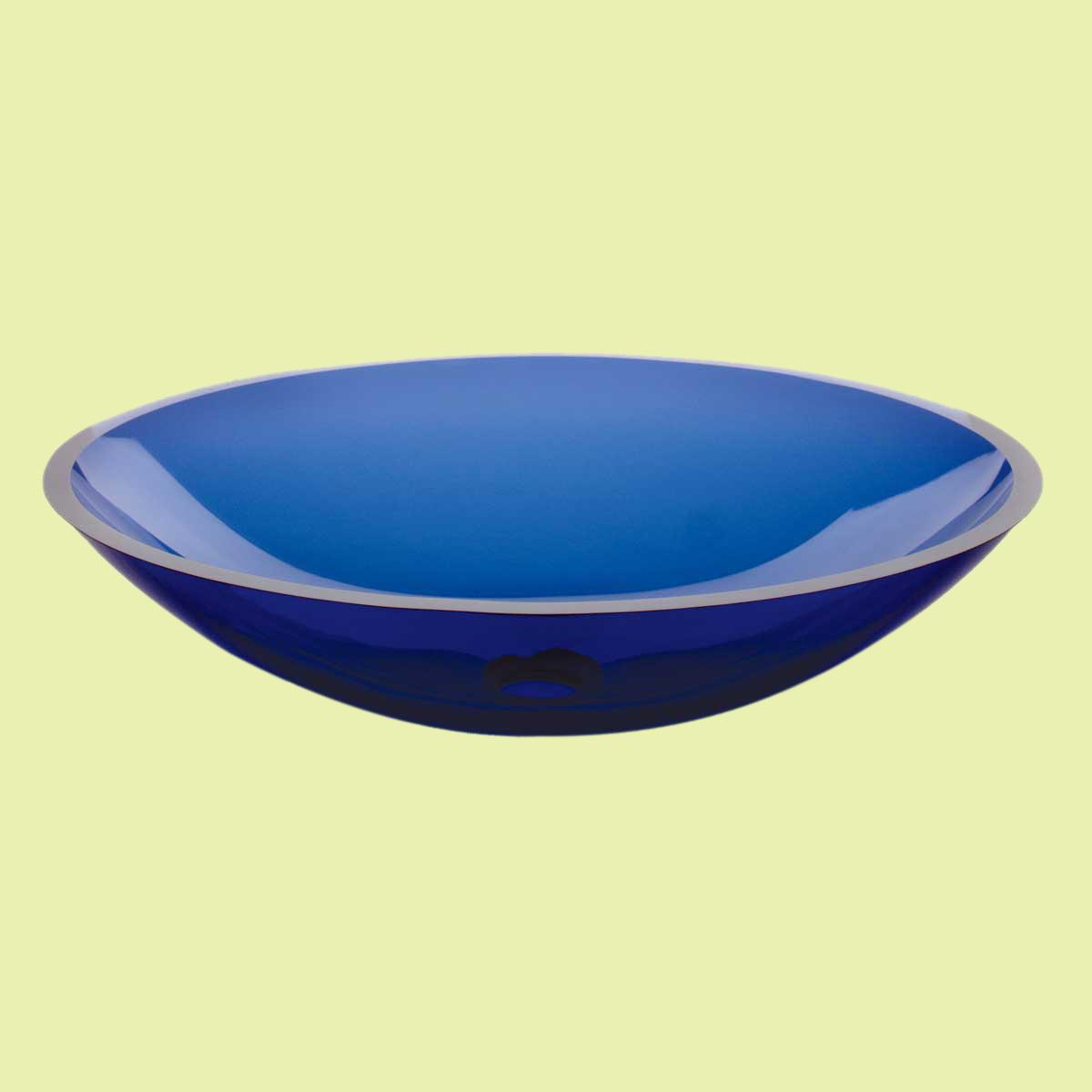 Oval Glass Vessel Sink : Glass Vessel Bathroom Sink Dark Blue Sea Oval