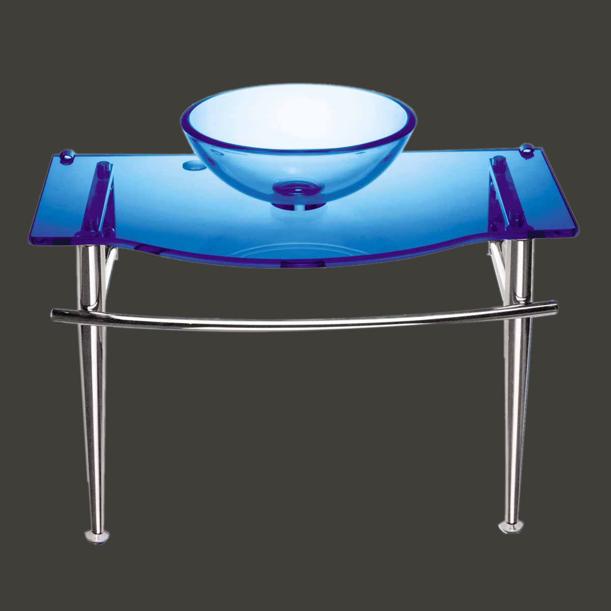 Children Bathroom Console Sink Blue Glass Vanity Wall Mount