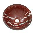 Mini Glass Vessel Sink Red Coral Round