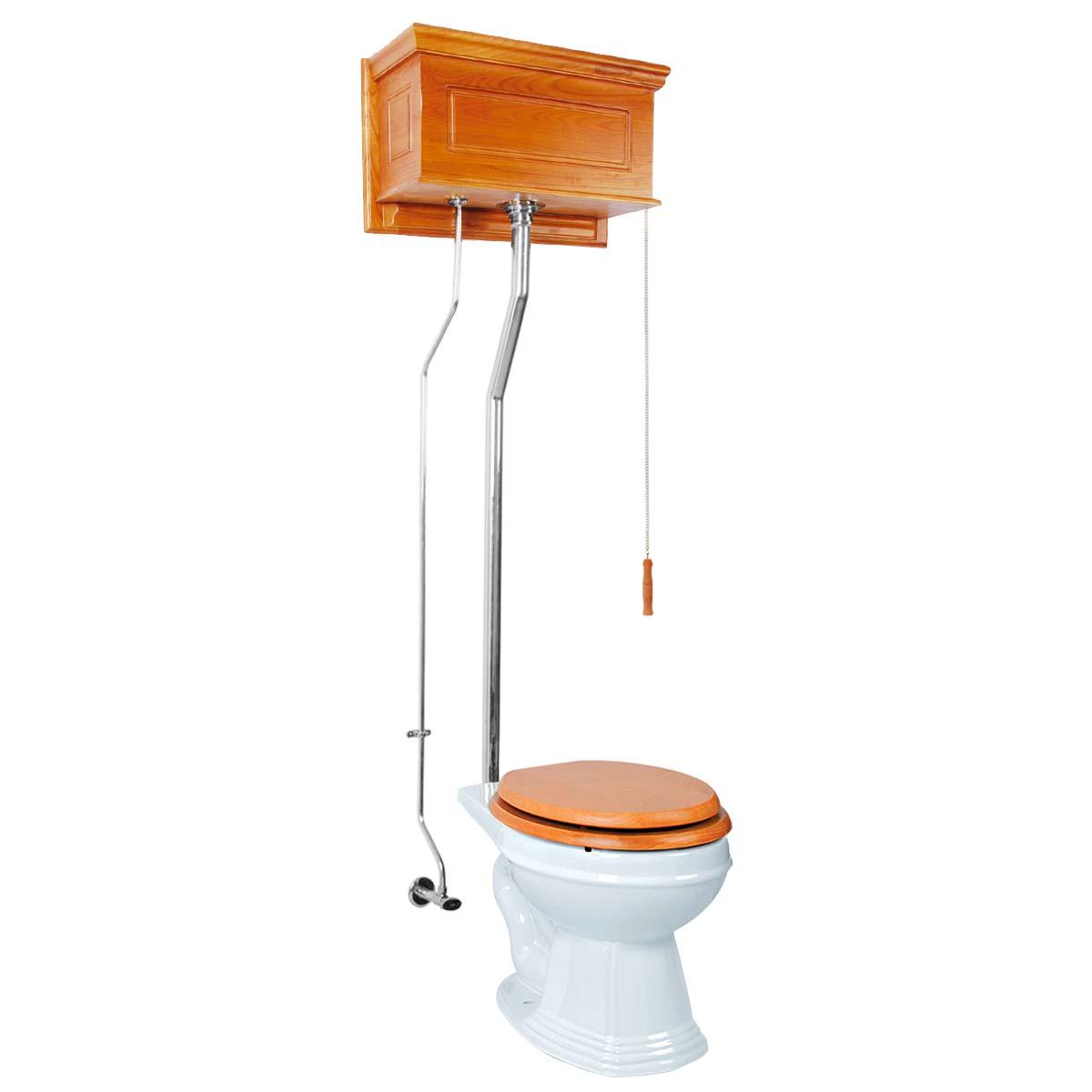High Tank Pull Chain Toilet Round Light Oak Raised Chrome