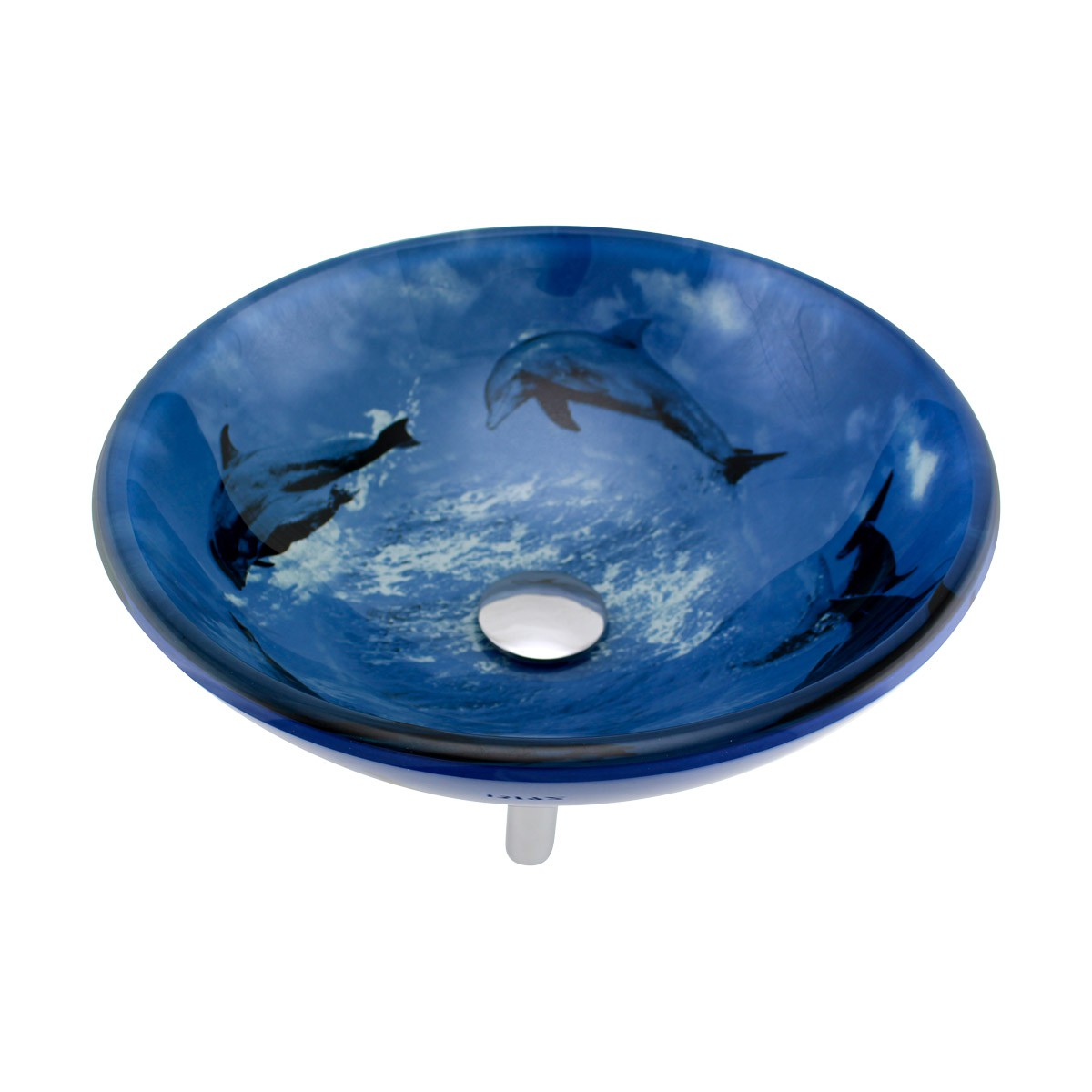 Sink Glass : Double Layer Glass Vessel Sink Bathroom Basin Blue Dolphin