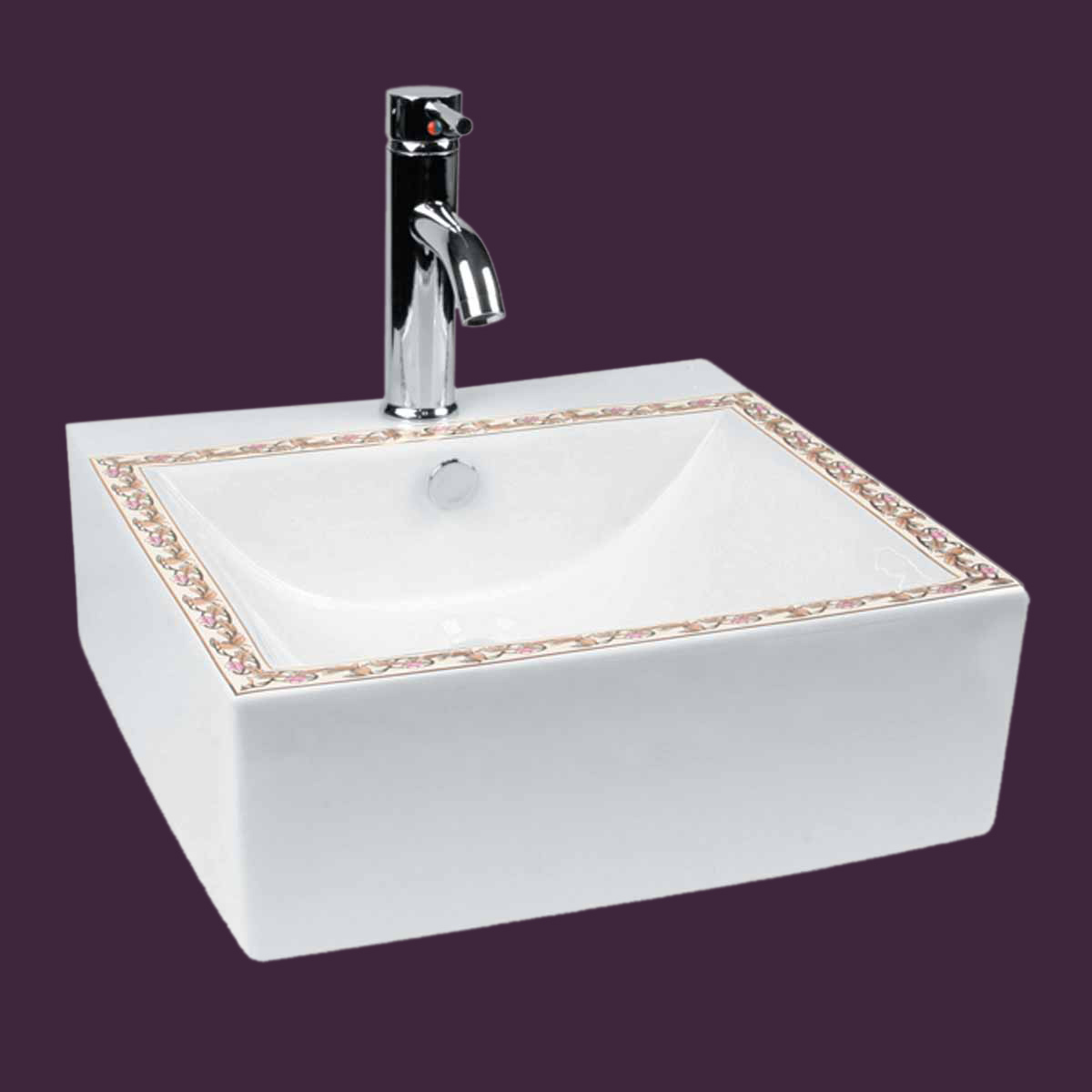 Bathroom Vessel Square Sink White China Painted Faucet Hole