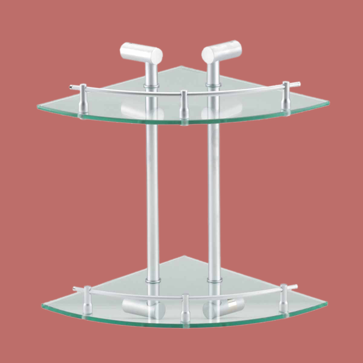 corner glass shelf dual tiers wall mount storage holder. Black Bedroom Furniture Sets. Home Design Ideas