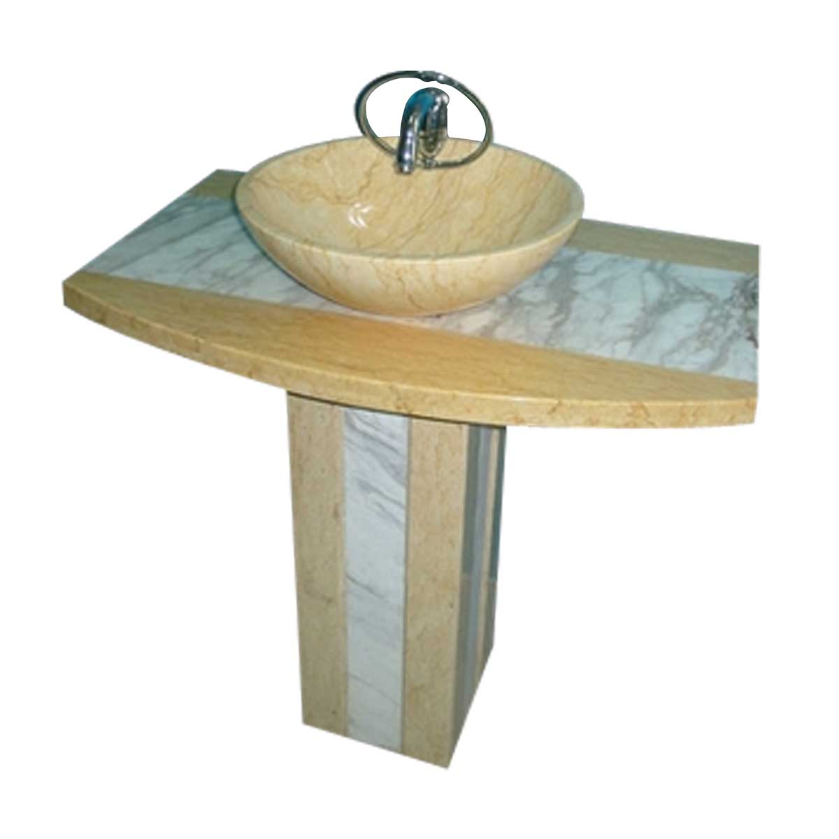 Carved Stone Sink : Marble Beige/Multi Marble Hand Carved Marble Pedestal Sink