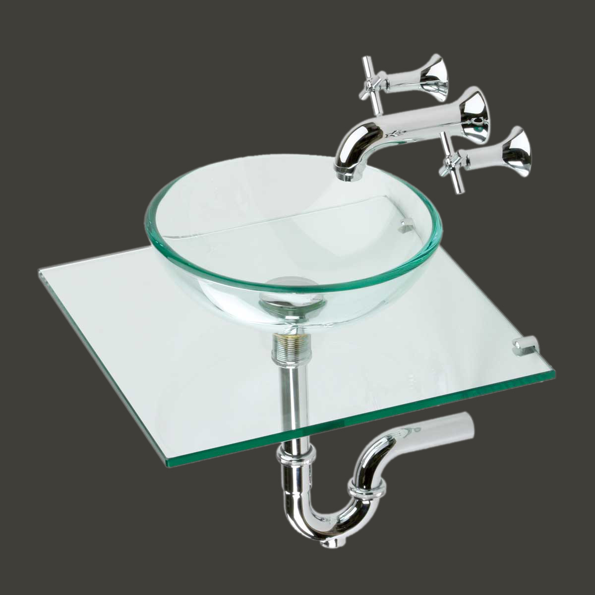 Small Wall Mount Glass Sink Mini Vessel Faucet Combo