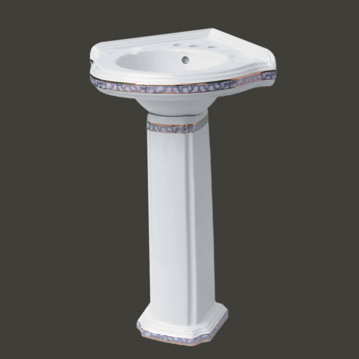 Corner Sink Pedestal : Bathroom Corner Pedestal Sink White China Gold Trim