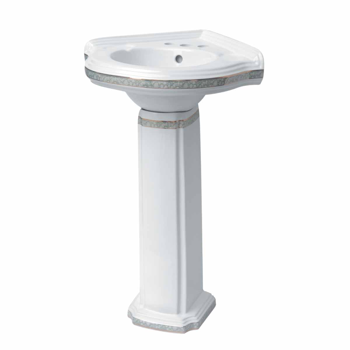 Corner Pedestal Sink Mint Painted White Vitreous China