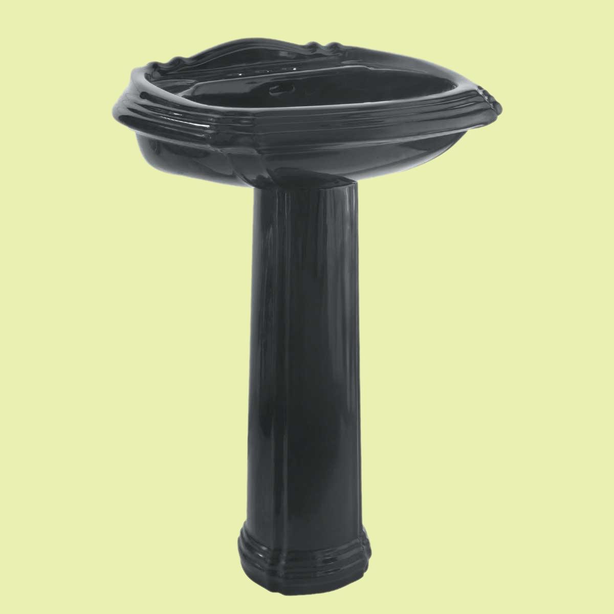 Large Black Ornate Pedestal Sink Grade A Vitreous China