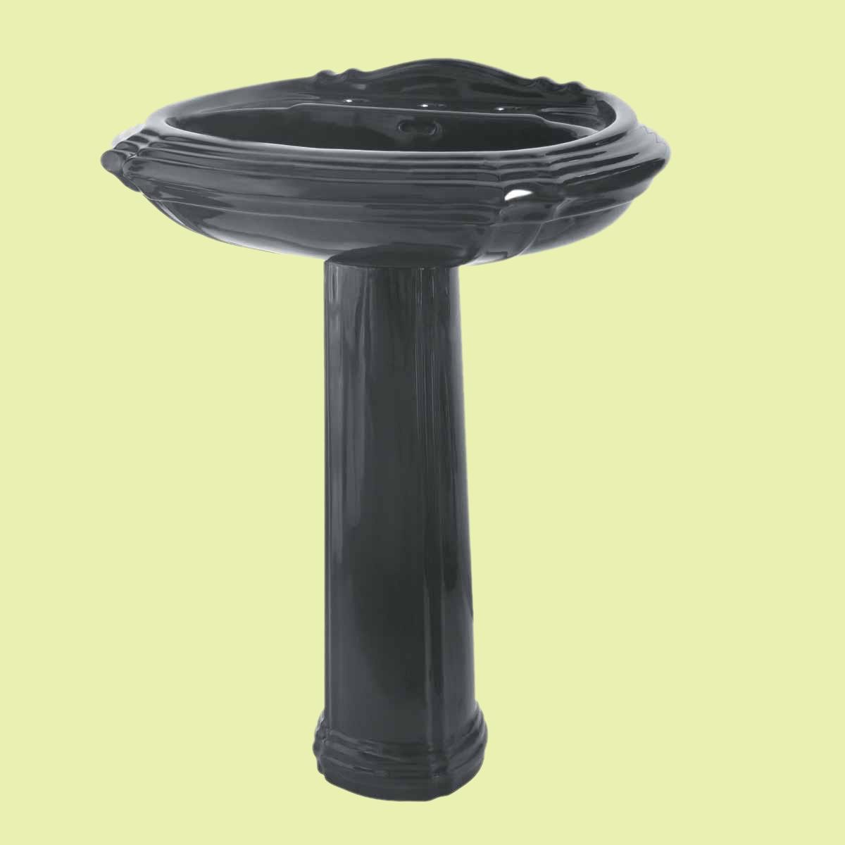 Black Pedestal Sink : Classic Pedestal Sink Black Bathroom 4