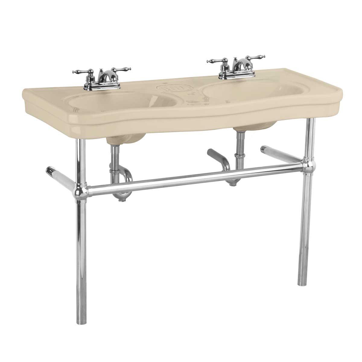 Bathroom Console Deluxe Double Sink 4 Quot Faucet Bone Chrome Leg