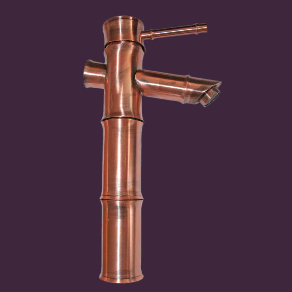Bathroom Faucet Antique Copper Bamboo Single Hole 1 Handle