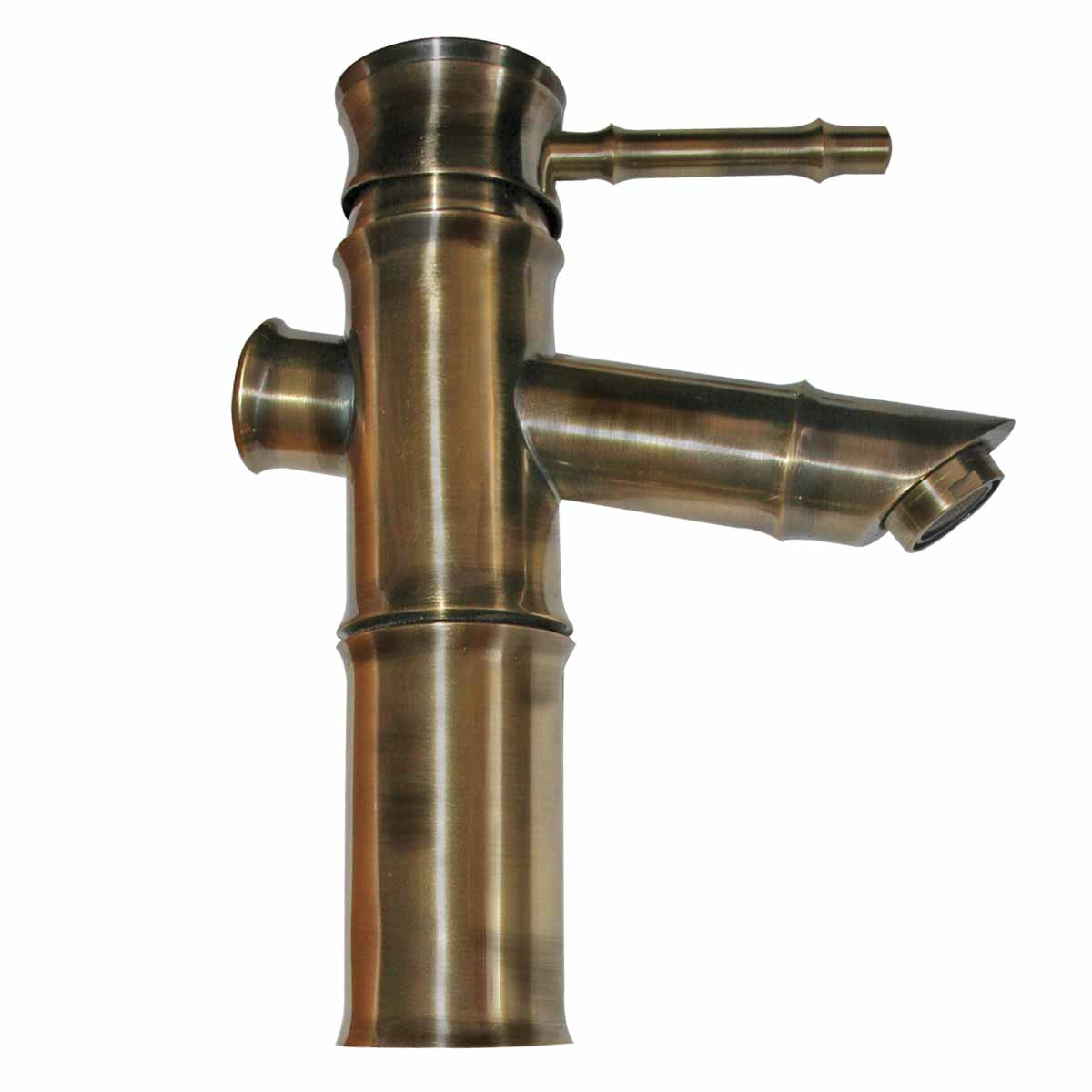 Brass Single Hole Bathroom Faucet : Bathroom Faucet Bamboo Antique Brass Single Hole 1 Handle
