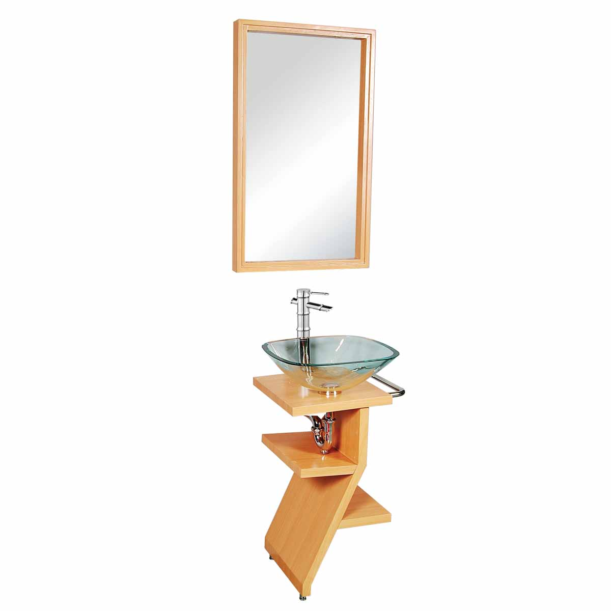 Bathroom Sink With Stand : Bathroom Glass Pedestal Sink Wood Stand Towel Bar