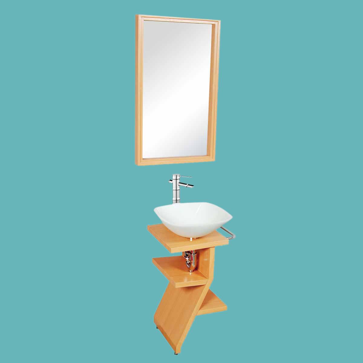 Wood Pedestal Sink : Bathroom Milky Glass Pedestal Sink Wood Stand Towel Bar