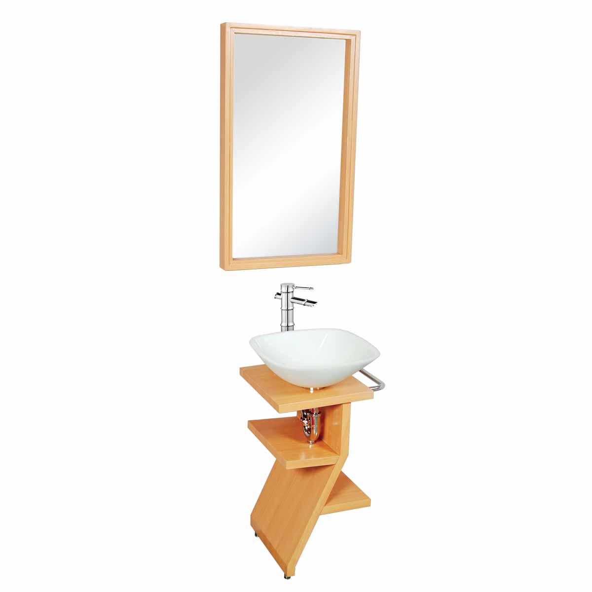 Bathroom Sink With Stand : Bathroom Milky Glass Pedestal Sink Wood Stand Towel Bar