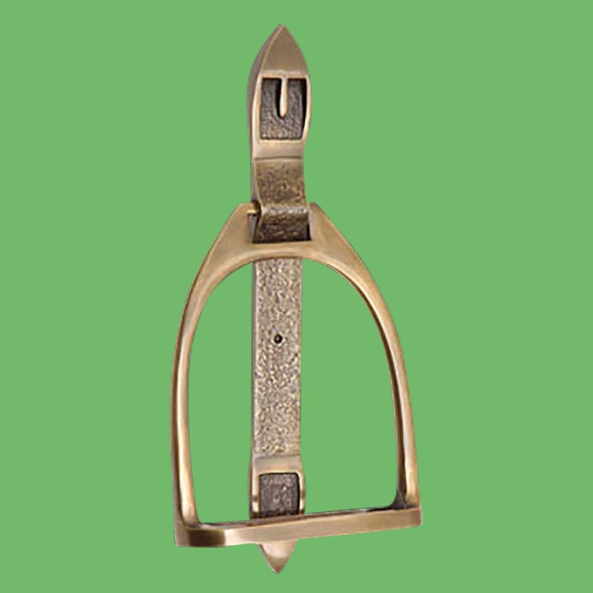 Antique brass large door knocker stirrup 9 5 h - Antique brass door knocker ...