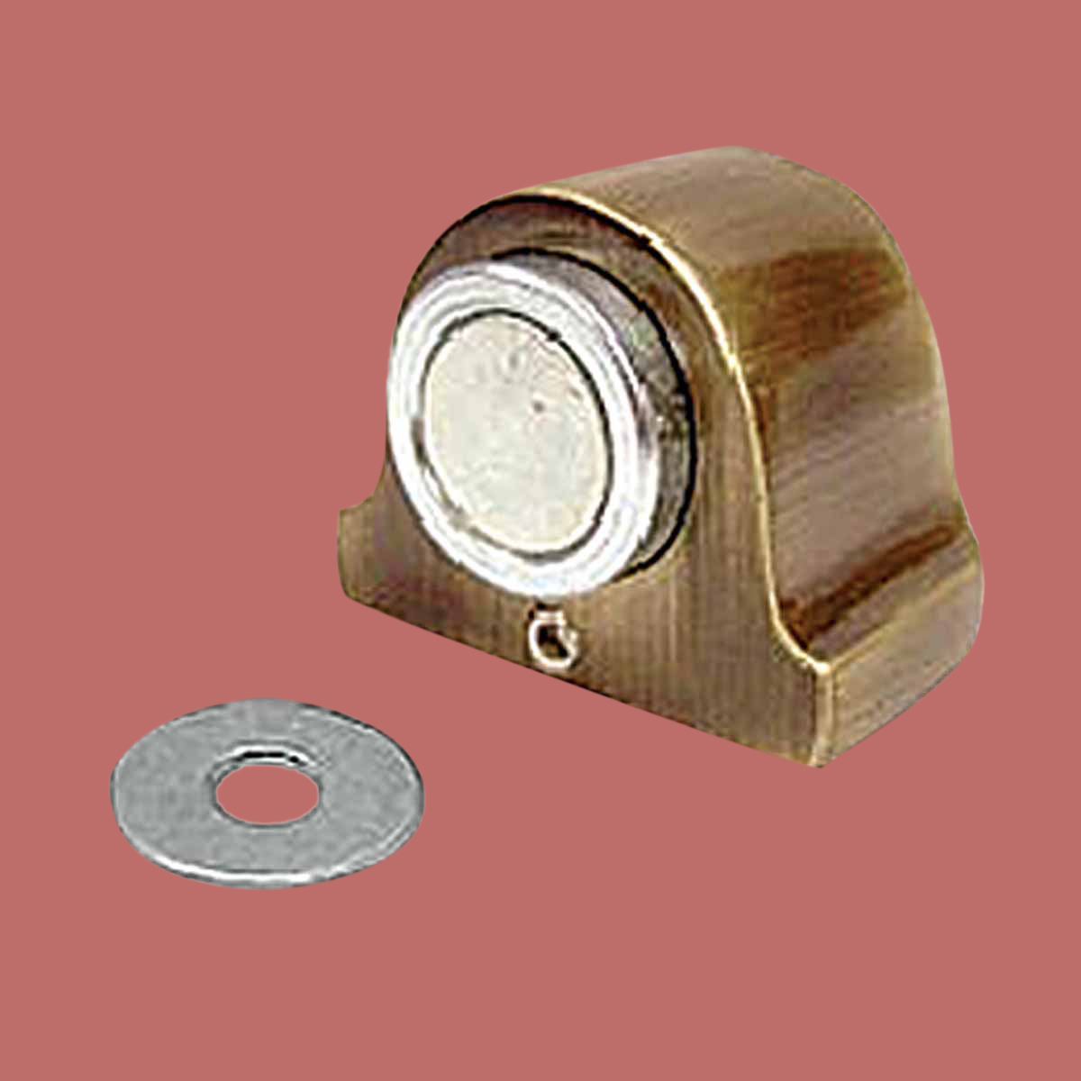 Antique Brass Magnetic Door Stop Floor Mount