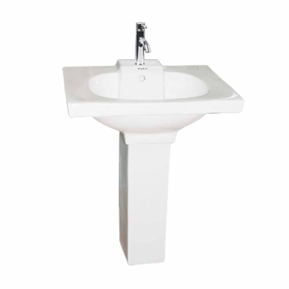 bathroom pedestal sink modern style white single hole