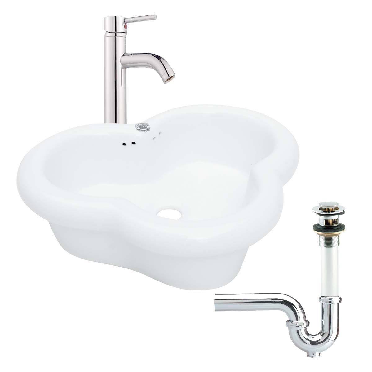 Bathroom Sink Trap : Bathroom Vessel Sink White Clover Chrome Faucet/Drain/P-Trap