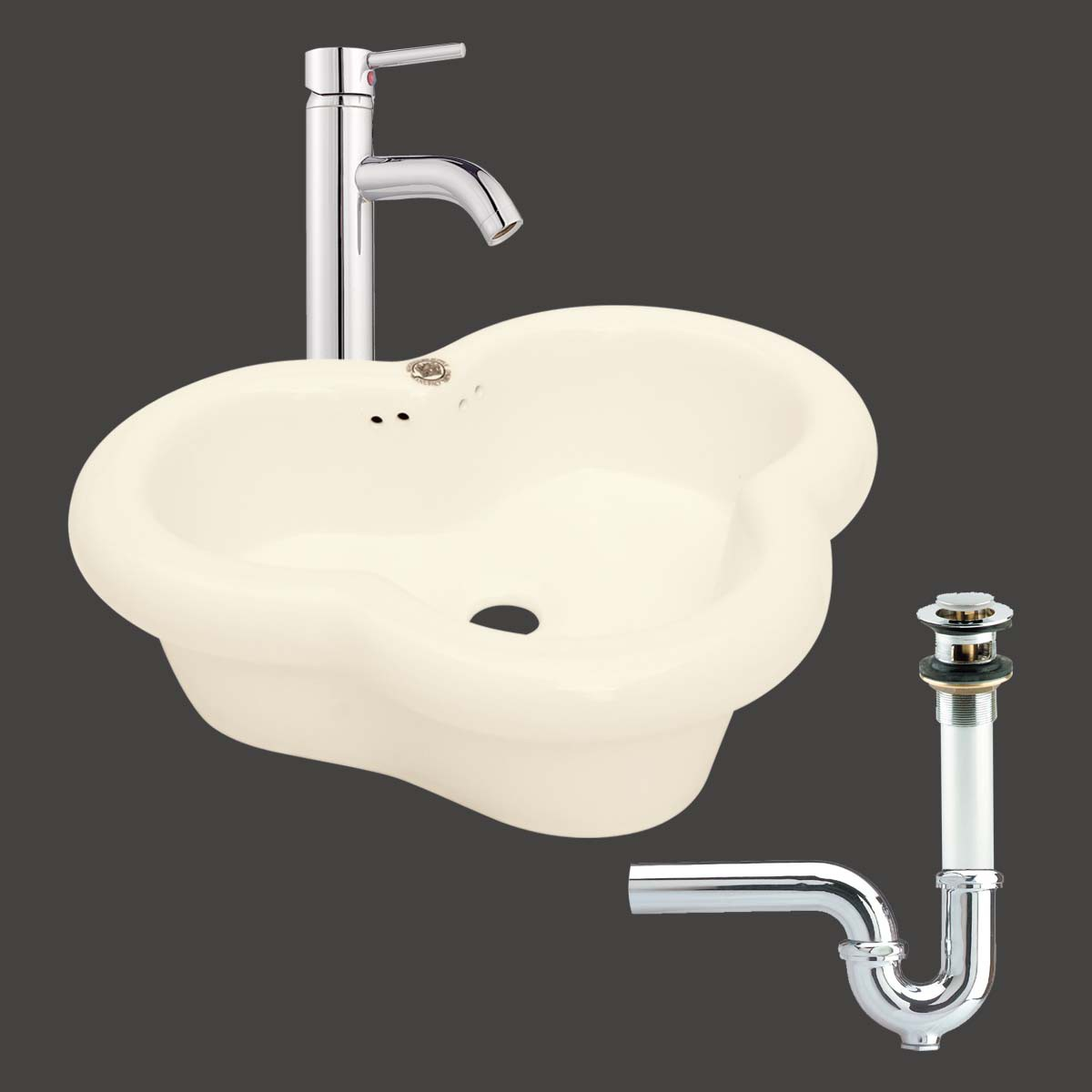 Bathroom Sink Trap : Bathroom Vessel Sink Bone Single Hole Faucet/Drain/P-Trap
