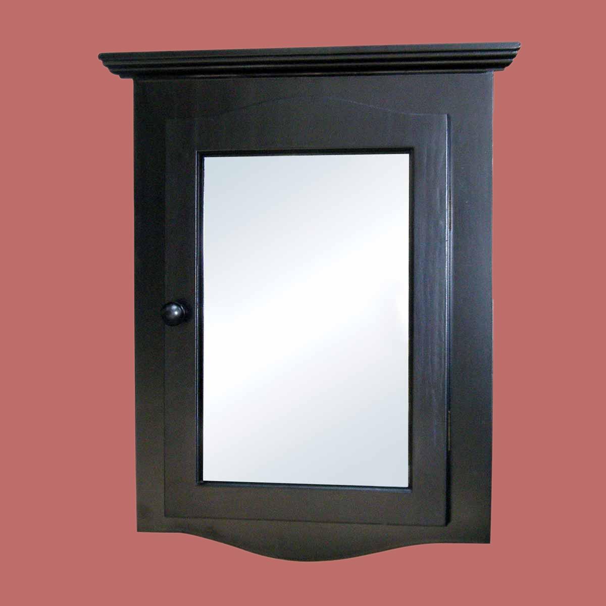 black solid wood corner medicine cabinet recessed mirror