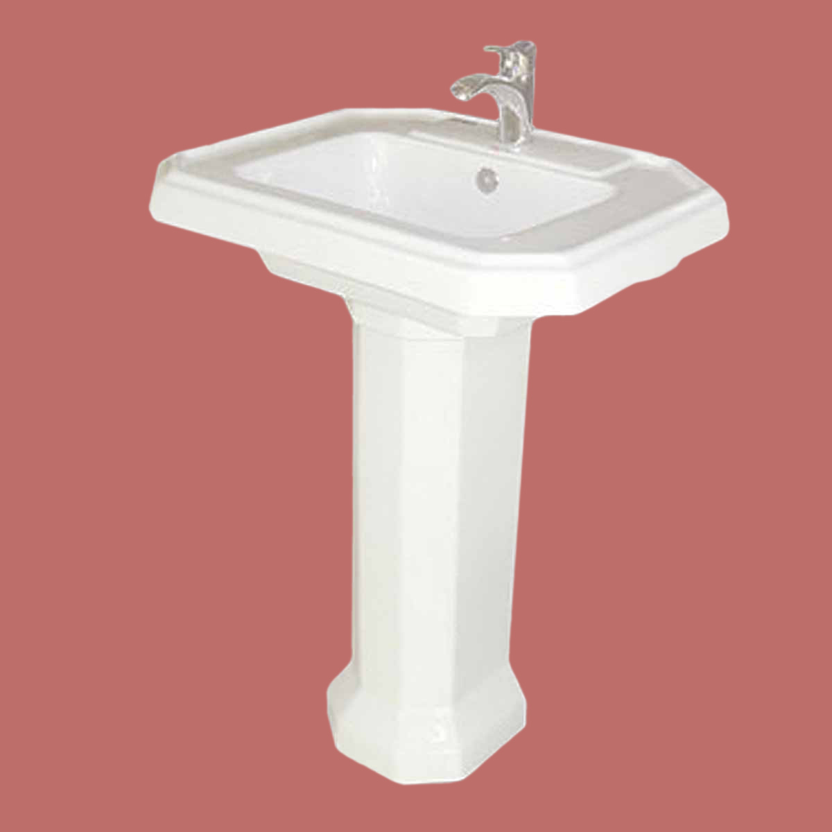 Single Hole Pedestal Sink : Bathroom Deluxe Pedestal Sink White China Single Hole