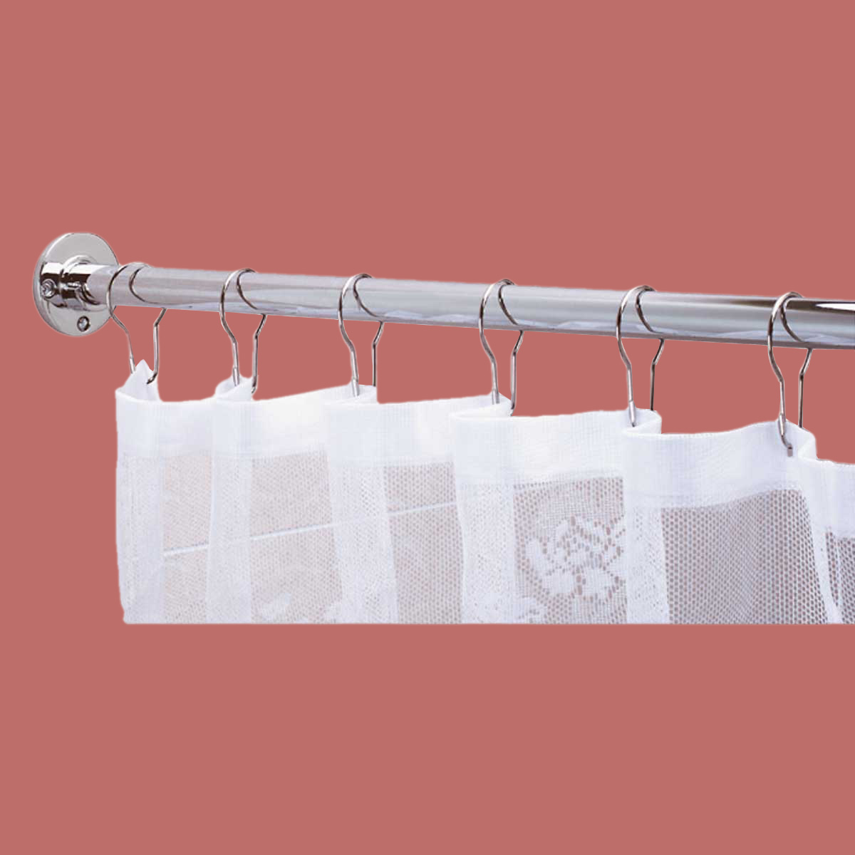 White Linen Blackout Curtains Long Decorative Curtain Rod
