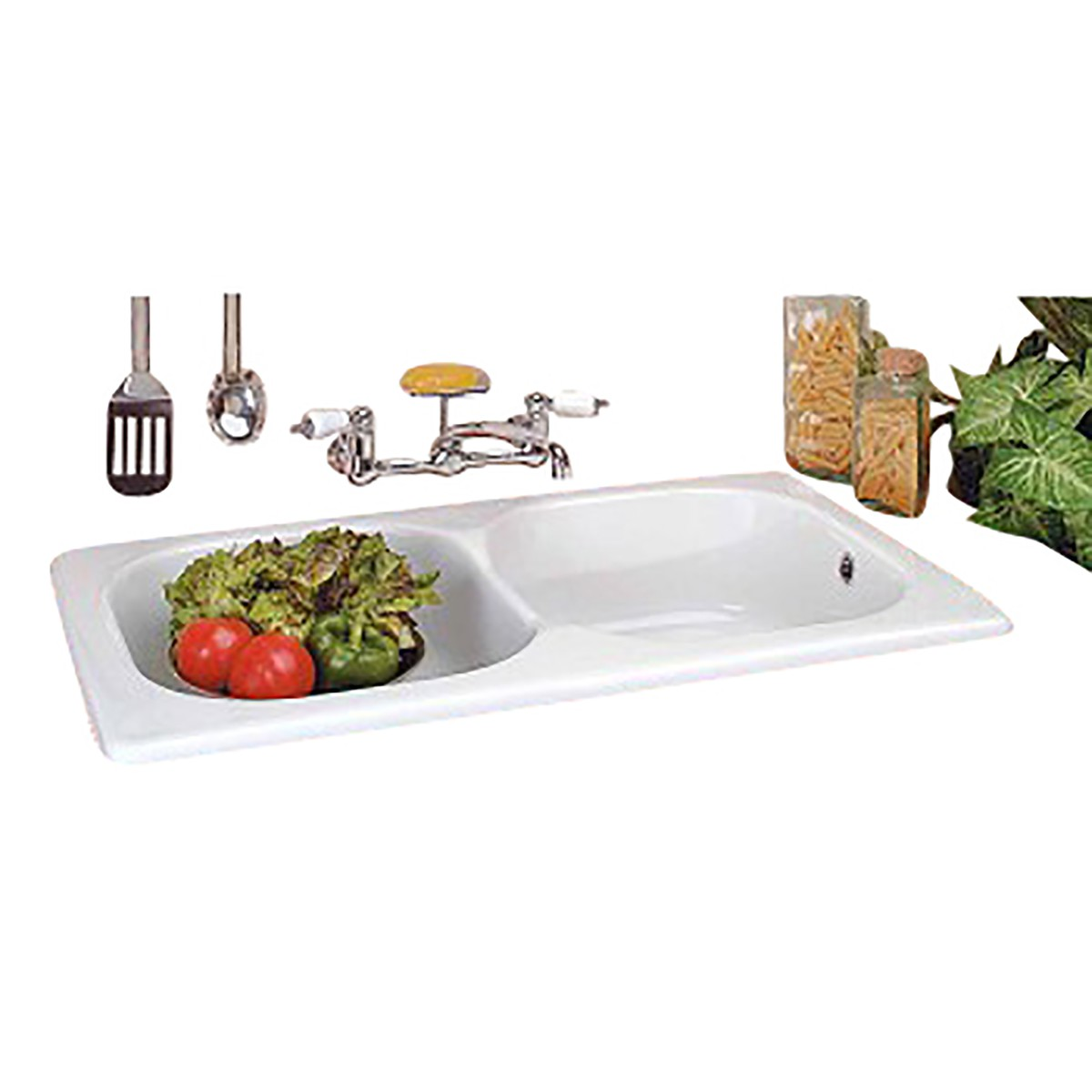 Drop In Sinks For Kitchen : Kitchen Drop-In Counter Sink Italian Porcelain Double Basin