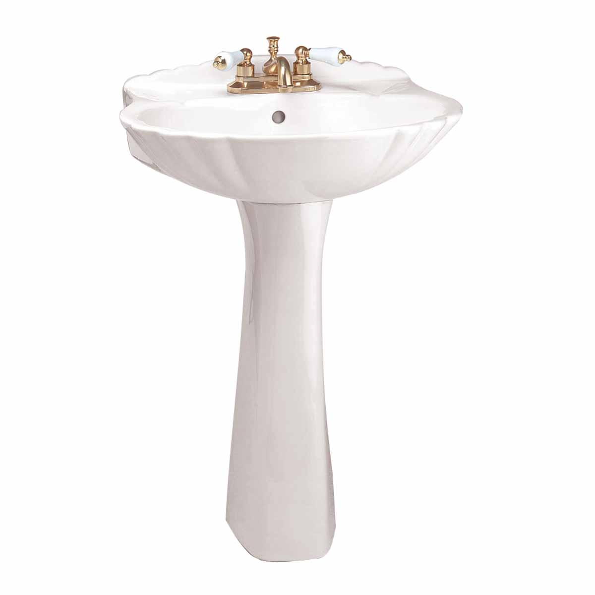 bathroom pedestal sink white china shell 23 w x 33 1 8 h