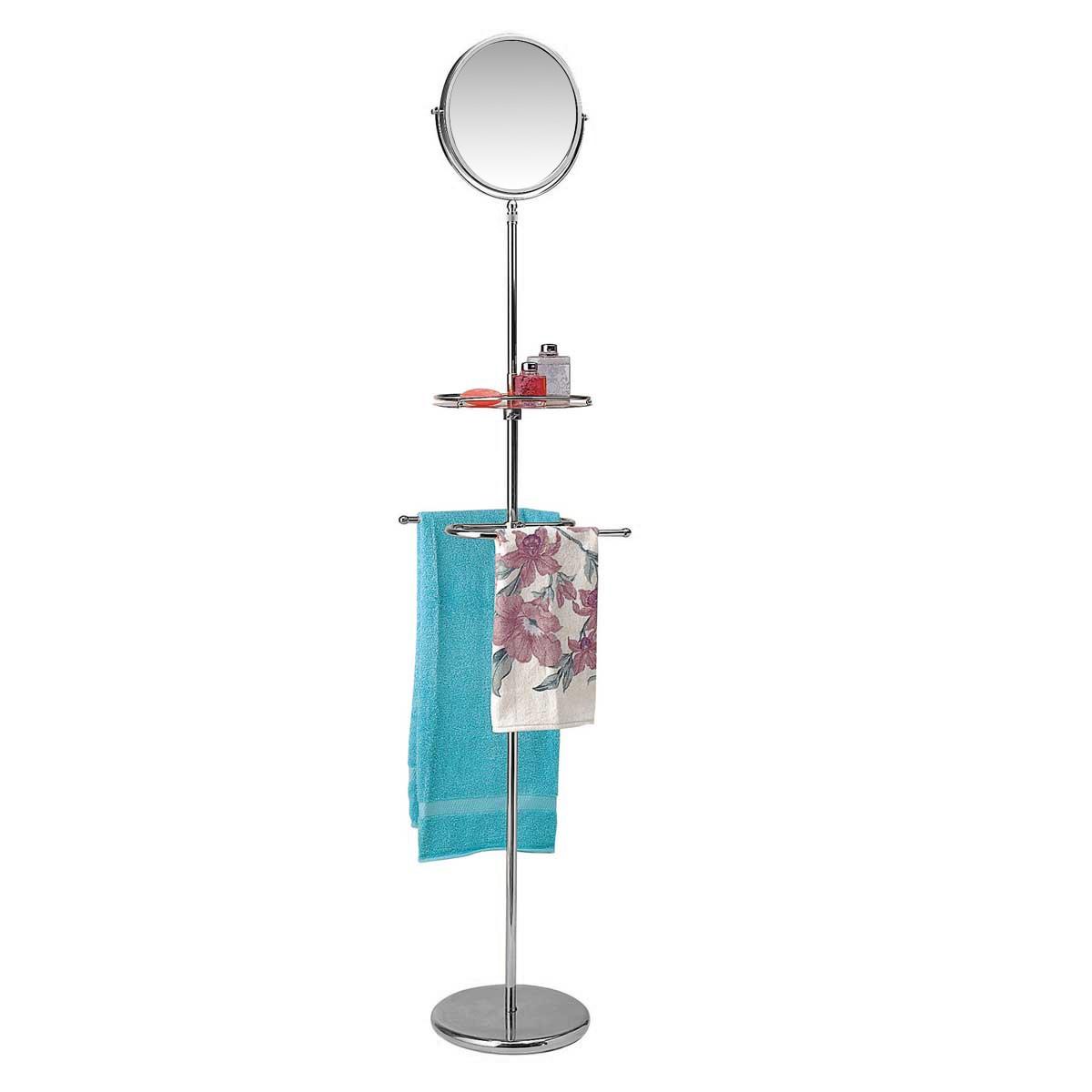 Victorian Vintage Brass Standing Mirror Shelf Towel Rack