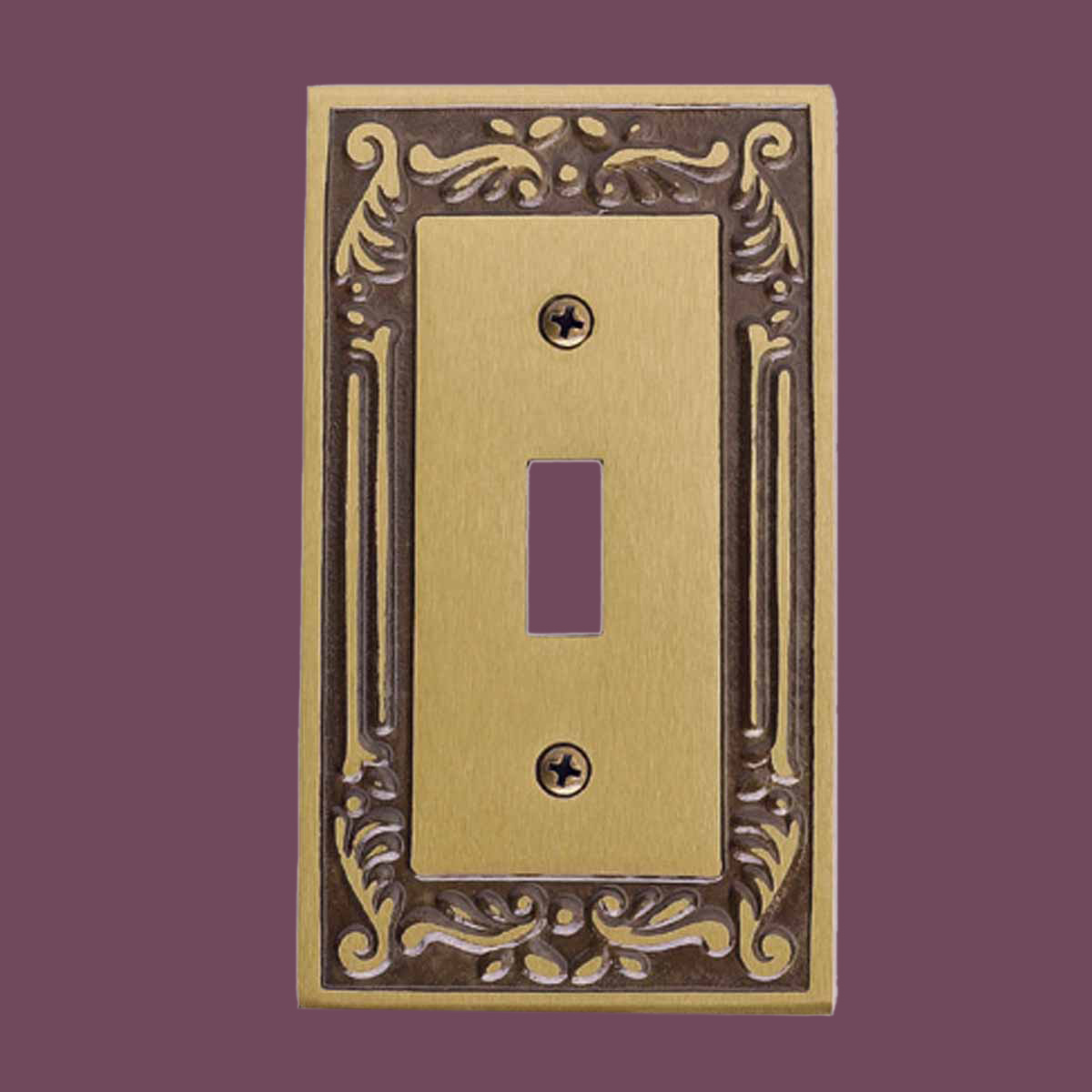 victorian switch plate single toggle dimmer antique brass. Black Bedroom Furniture Sets. Home Design Ideas