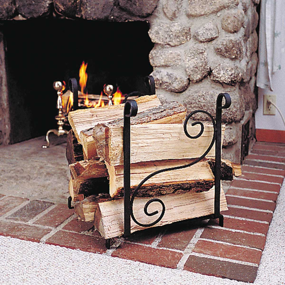 fireplace accessories log holder black wrought iron
