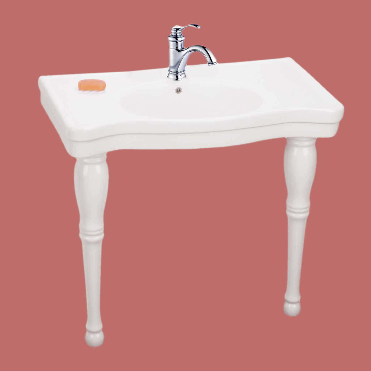 Deluxe Bathroom Console Sink White China Spingle Leg