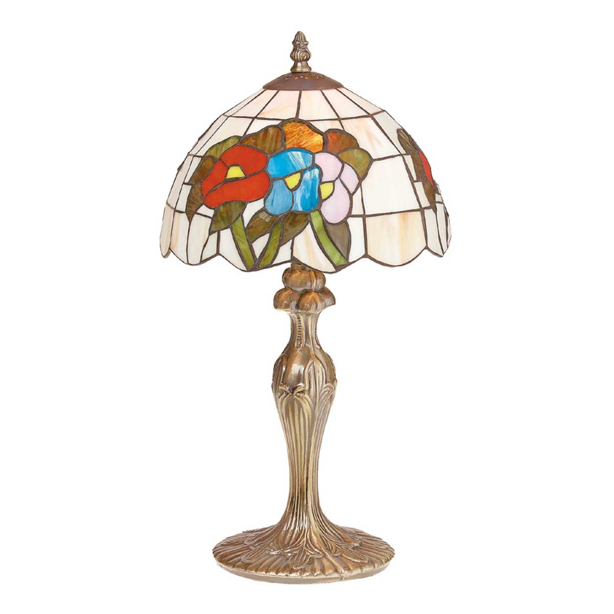 table lamp antique brass style stained glass 19 h. Black Bedroom Furniture Sets. Home Design Ideas