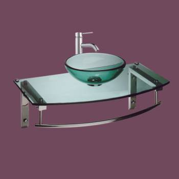 Wall Mount Glass Sink Bathroom Console Combo Package