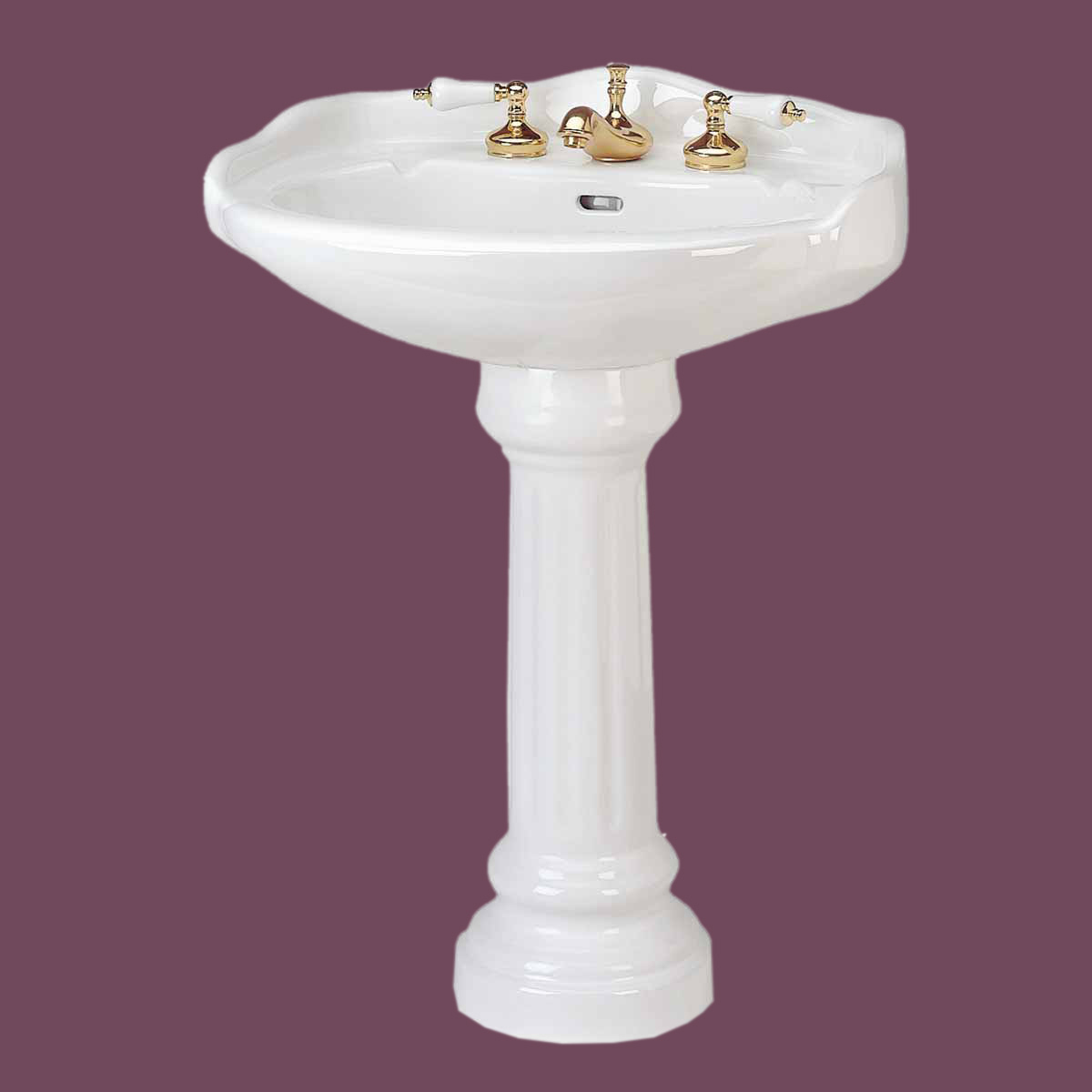 China Sink : Medium White Pedestal Sink Grade A Vitreous China Open Back