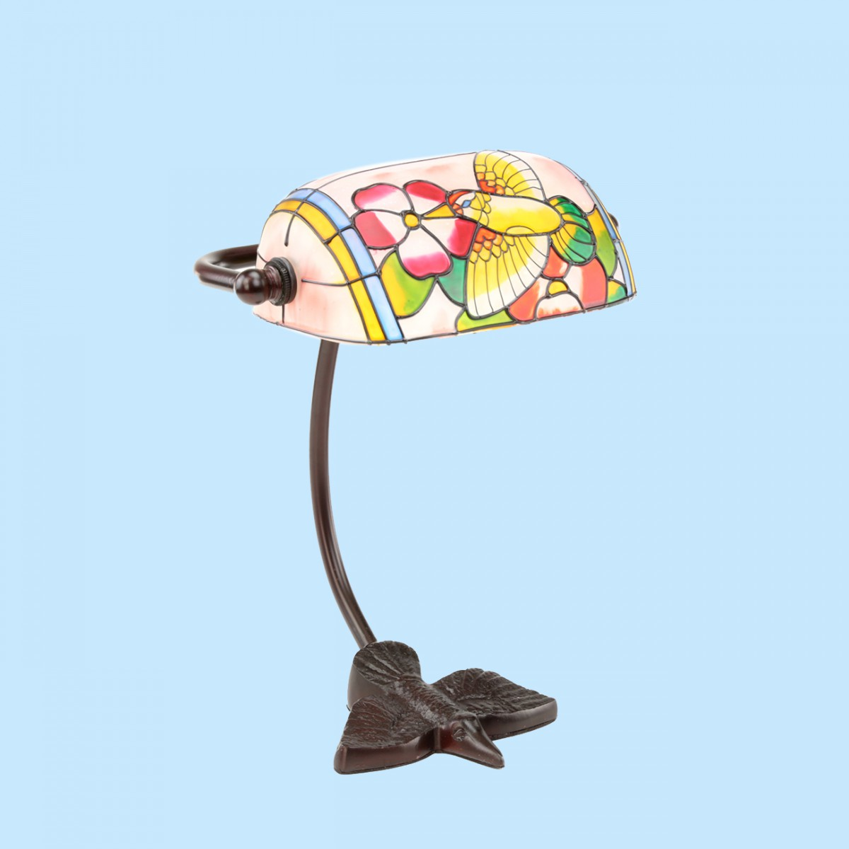 table lamp bronze bird style lamp stained glass 7 5. Black Bedroom Furniture Sets. Home Design Ideas