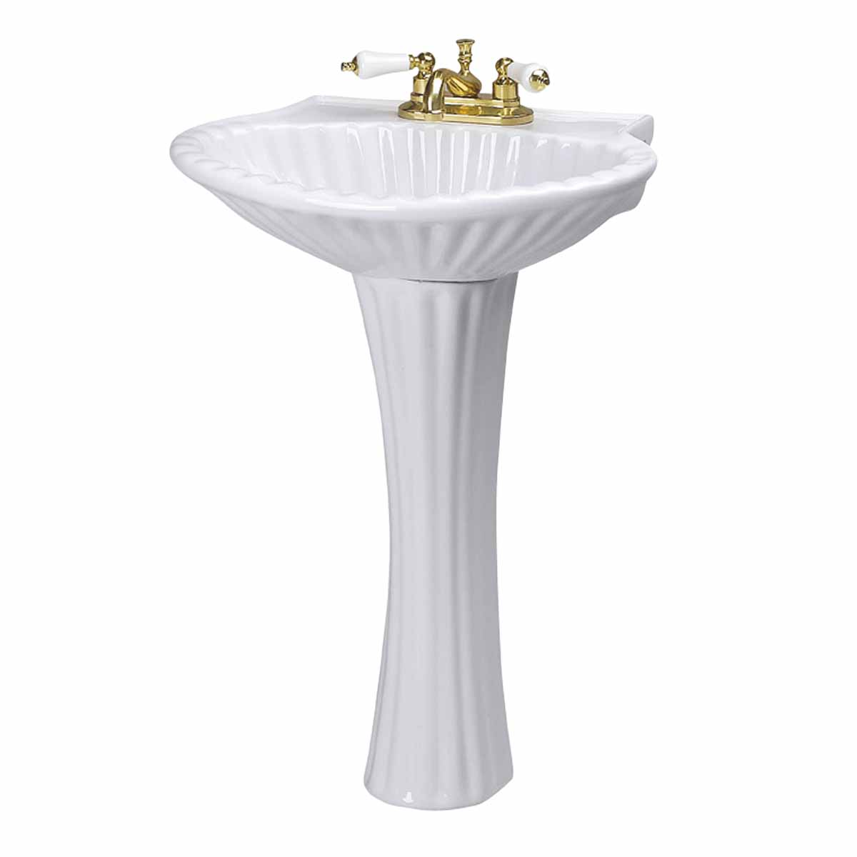 Seashell Pedestal Sink : Bathroom Pedestal Sink White China Sea Shell